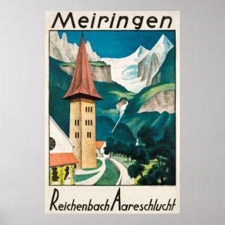 Meiringen, Reichenbach Aareschlucht,Ski Poster