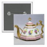 Meissen octagonal teapot, c.1718 pins