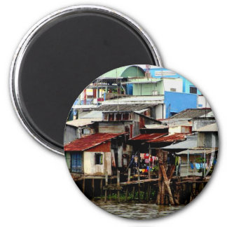Mekong River Houses 6 Cm Round Magnet
