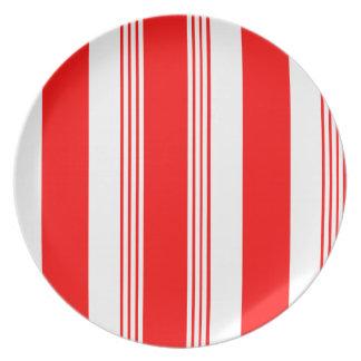 Melamine Candy Striper Plate in Red