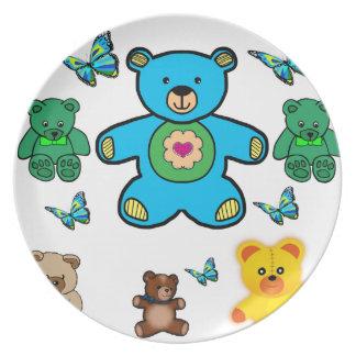 melamine plate butterflies teddy bear