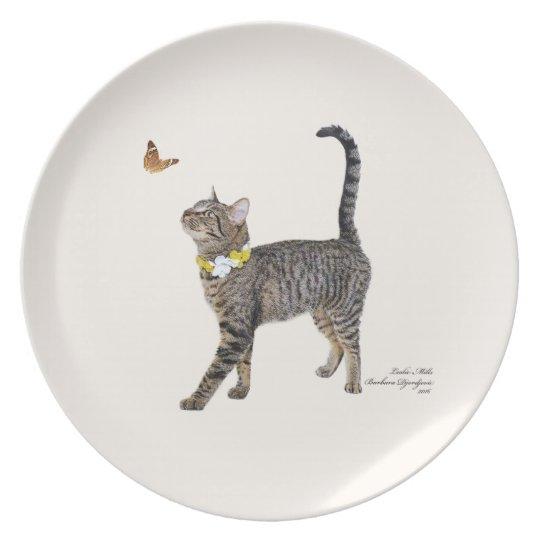 Melamine Plate Featuring Tabatha, the Tabby