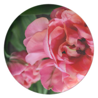 Melamine Plate Flower Pink Tulip