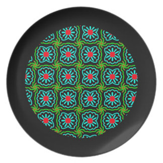 Melamine plate Jimette blue and black Design