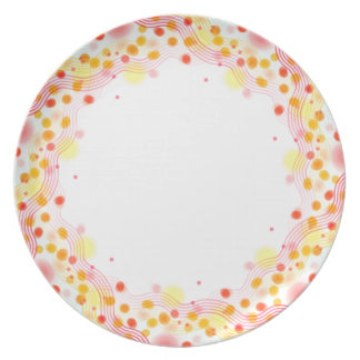 Melamine plate Jimette Design yellow and red