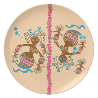 Melamine Plate, Mermaid sisters, pink background Party Plates