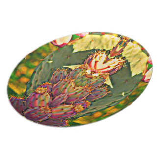 "Melamine Plate ""Prickly Pear Cactus in Photo Art"""