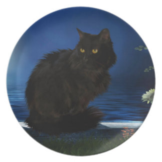 Melamine plate with cat