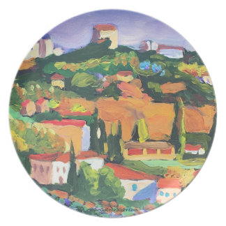 Melamine Plate with Hills of Italy