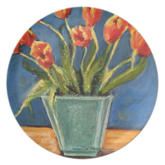 melamine plate with red tulips in teal vase