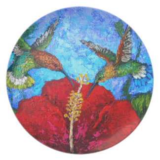Melamine Plate With Two Hummingbirds Painting