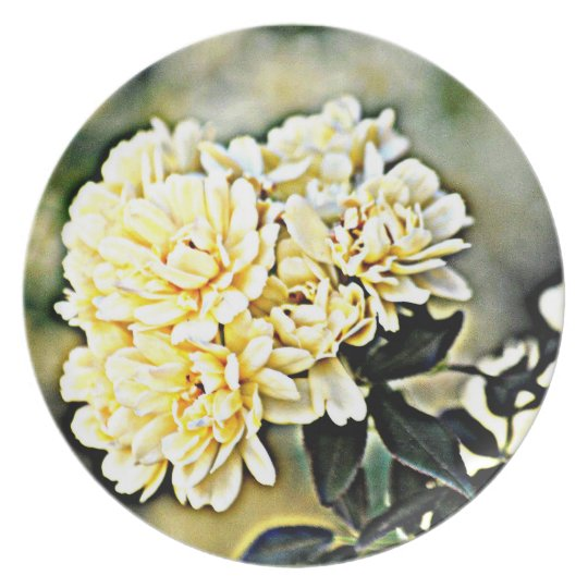 "Melamine Plate ""Yellow Flower Clusters"""
