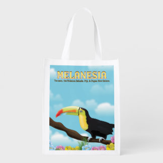 Melanesia Toucan travel poster Reusable Grocery Bag