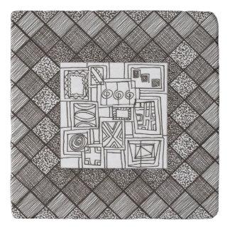 Melange-Abstract Geometric Doodle Pattern Trivet