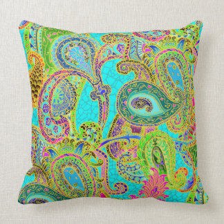 Melange Paisley in Turquoise and Sherbet Green Cushions