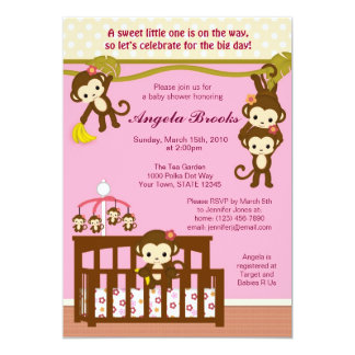 Melanie Monkey Baby Shower Invitations
