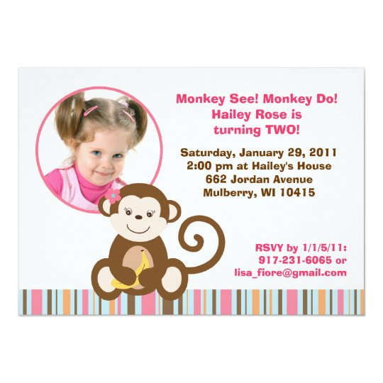 Melanie Monkey Girl Photo Birthday Invitations