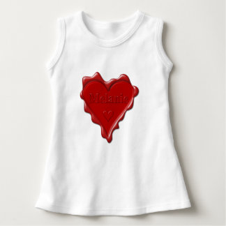 Melanie. Red heart wax seal with name Melanie Dress