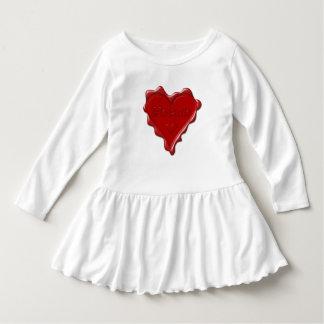 Melanie. Red heart wax seal with name Melanie Dress