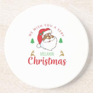 Melanin Christmas afrocentric Santa Coaster