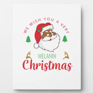 Melanin Christmas afrocentric Santa Plaque