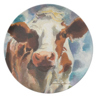Melanine plate with cow watercolor