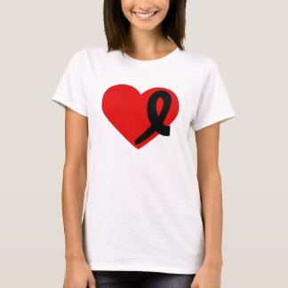 Melanoma Cancer t-shirt Heart and Black Ribbon