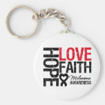 Melanoma Hope Love Faith Basic Round Button Key Ring