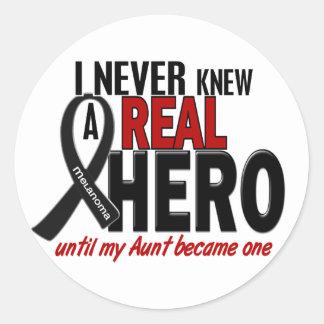 Melanoma NEVER KNEW A HERO 2 Aunt Round Sticker