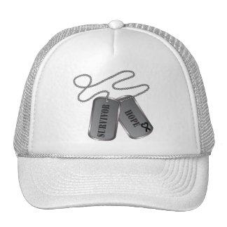 Melanoma Survivor Hope Dog Tags Hats