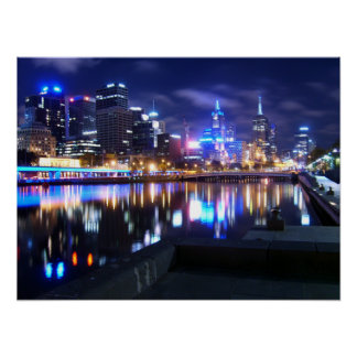 Melbourne at Night Poster