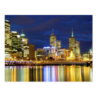 Melbourne, Australia. A nighttime view of the 2 Postcard