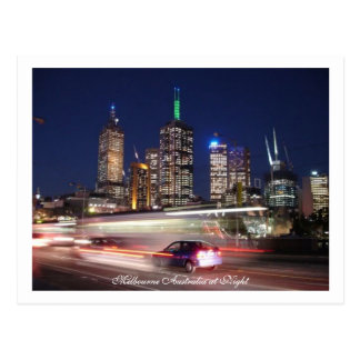 Melbourne Australia at Night Postcard
