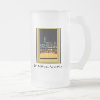 Melbourne Australia CBD Night Lights Frosted Glass Beer Mug