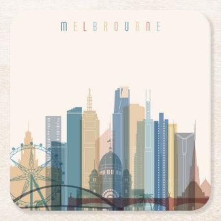 Melbourne, Australia | City Skyline Square Paper Coaster