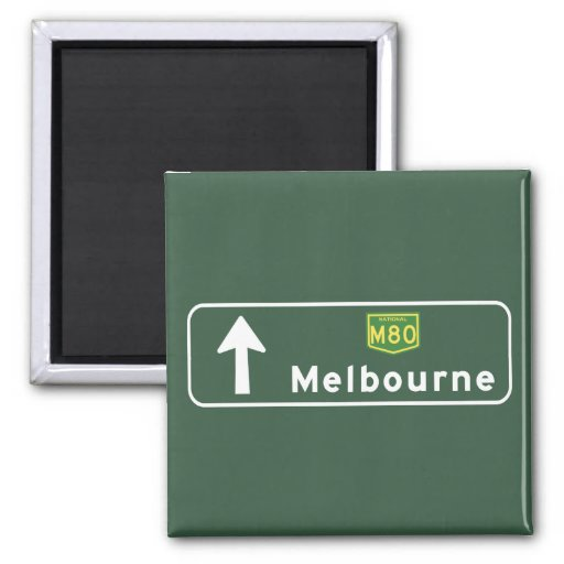 Melbourne, Australia Road Sign Refrigerator Magnets