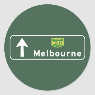 Melbourne, Australia Road Sign Round Sticker