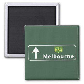 Melbourne, Australia Road Sign Square Magnet