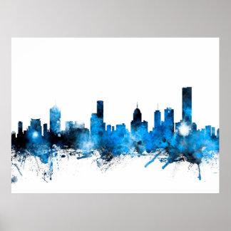 Melbourne Australia Skyline Poster