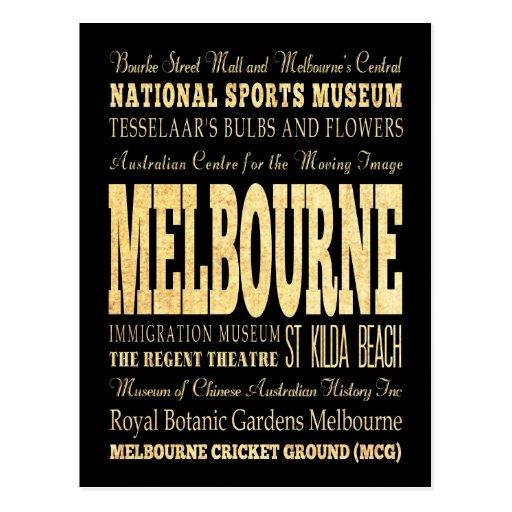Melbourne City of Australia Typography Art Post Cards