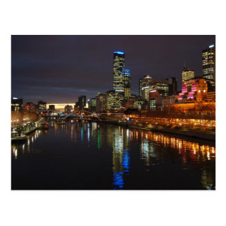 Melbourne Evening Skyline Postcard