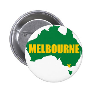 Melbourne Green and Gold Map 6 Cm Round Badge