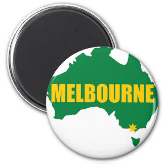 Melbourne Green and Gold Map 6 Cm Round Magnet