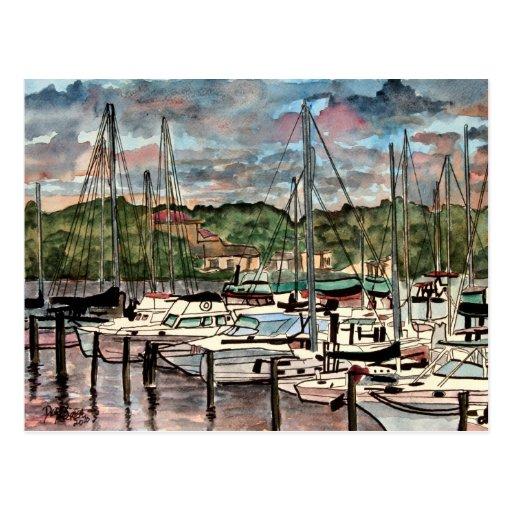 Melbourne Harbor Marina sail boats sailboat art Post Card