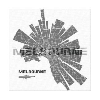 Melbourne Map Wrapped Canvas Canvas Prints