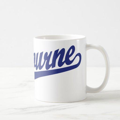 Melbourne script logo in blue distressed mugs