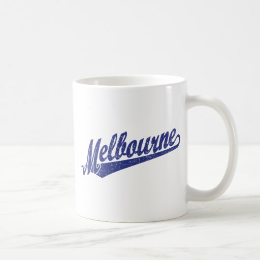 Melbourne script logo in blue distressed coffee mug