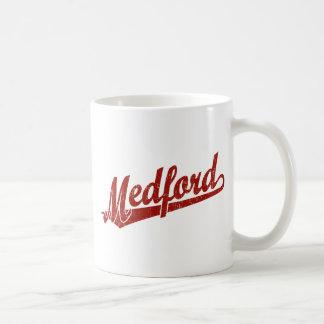 Melbourne script logo in red distressed basic white mug