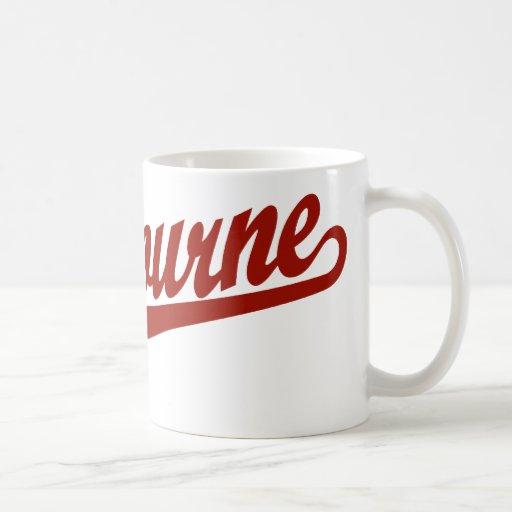 Melbourne script logo in red mug