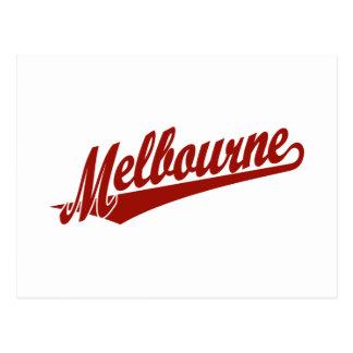 Melbourne script logo in red postcard